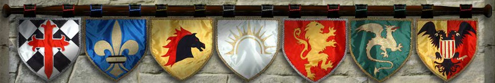 Custom Heraldic Designs crafts beautiful Medieval style banners and flags to enhance your events and re enacting experiences. The Gonfalon is one of the earliest documented forms of banners in western European culture circa France. Their use is reminiscent of the Vexillion standards used by .