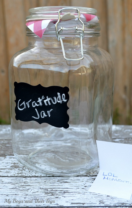 Gratitude jar with note