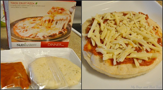 Nutrisystem Fast5 thick crust pizza on a plate