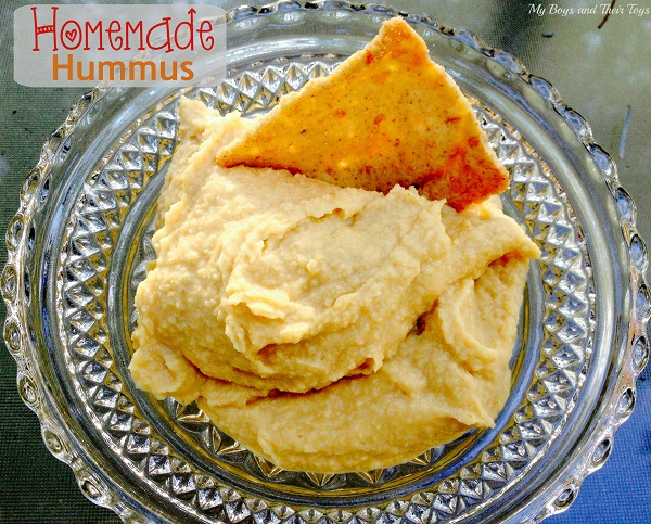 homemade hummus in glass bowl