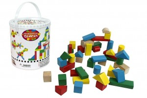 42-piece Wooden Block Set with Carrying Bag and Container