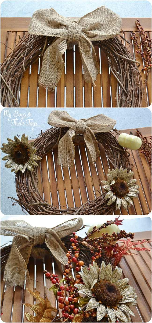 Fall DIY Wreath steps