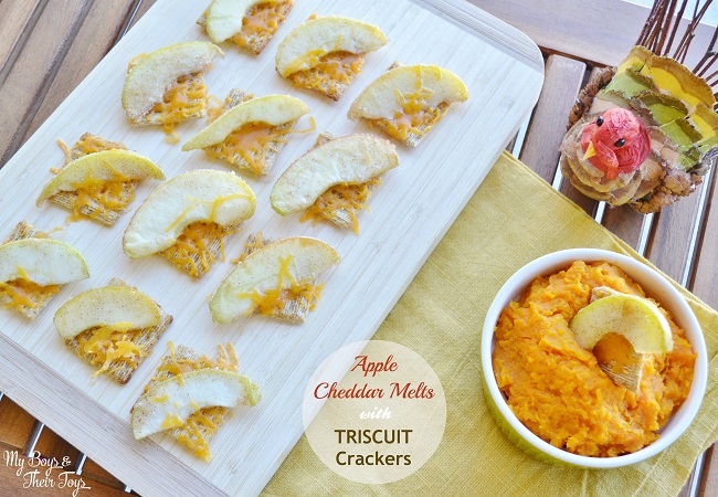 easy appetizer apple cheddar melts on cutting board with butternut squash dip