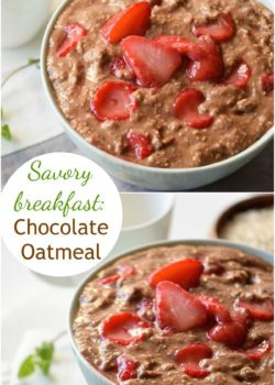 Savory Chocolate Oatmeal with Strawberries