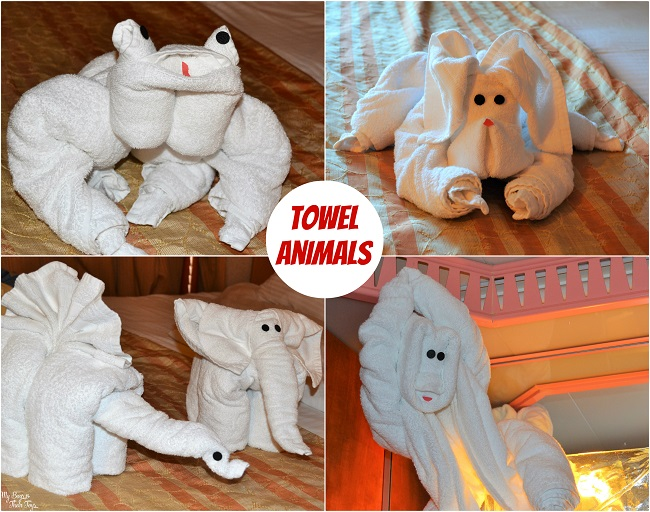 towel animals collage