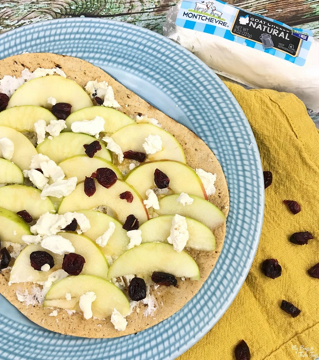 montchevre goat cheese recipe with apples and dried cranberries on blue plate