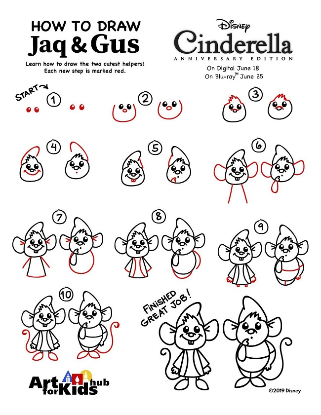 how to draw jaq and gus cinderella