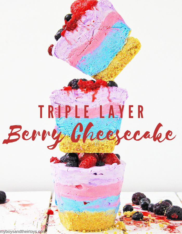 triple layer berry cheesecake