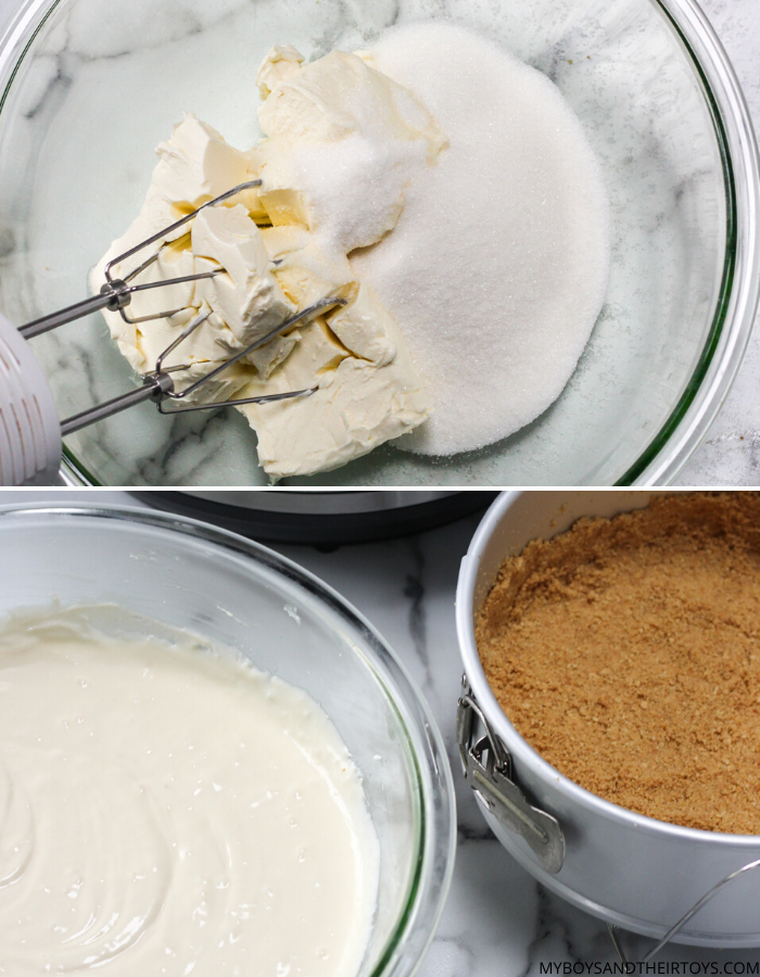 cheesecake ingredients mixing bowl with butter and sugar