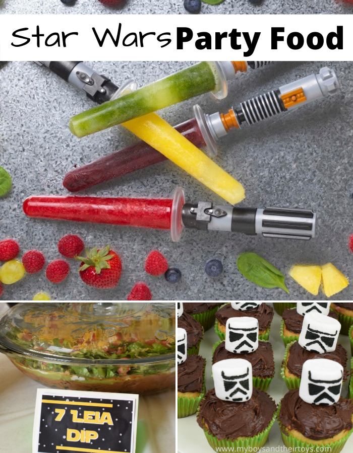 star wars party food collage fruit lightsabers marshmallow stormtrooper